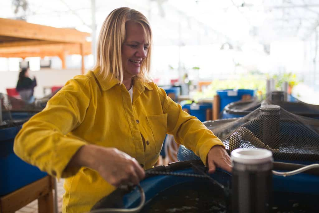 FarmHer Rebecca Nelson looks over a tank of farm grown tilapia at Nelson and Pade