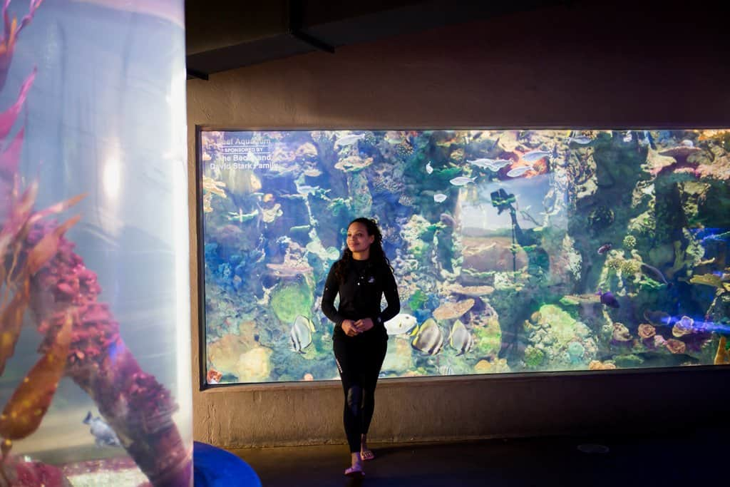 Zookeeper and aquarium caretaker stands in front of the aquariums at the Blank Park Zoo in Des Moines, Iowa.