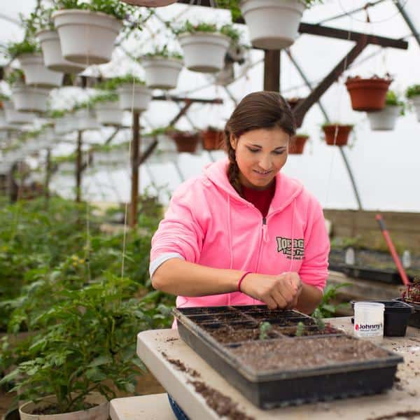 FarmHer Anya Irons plants in a greenhouse
