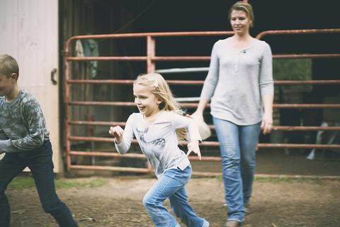 Meredith Bernard helps her to kids around their family farm in North Carolina.