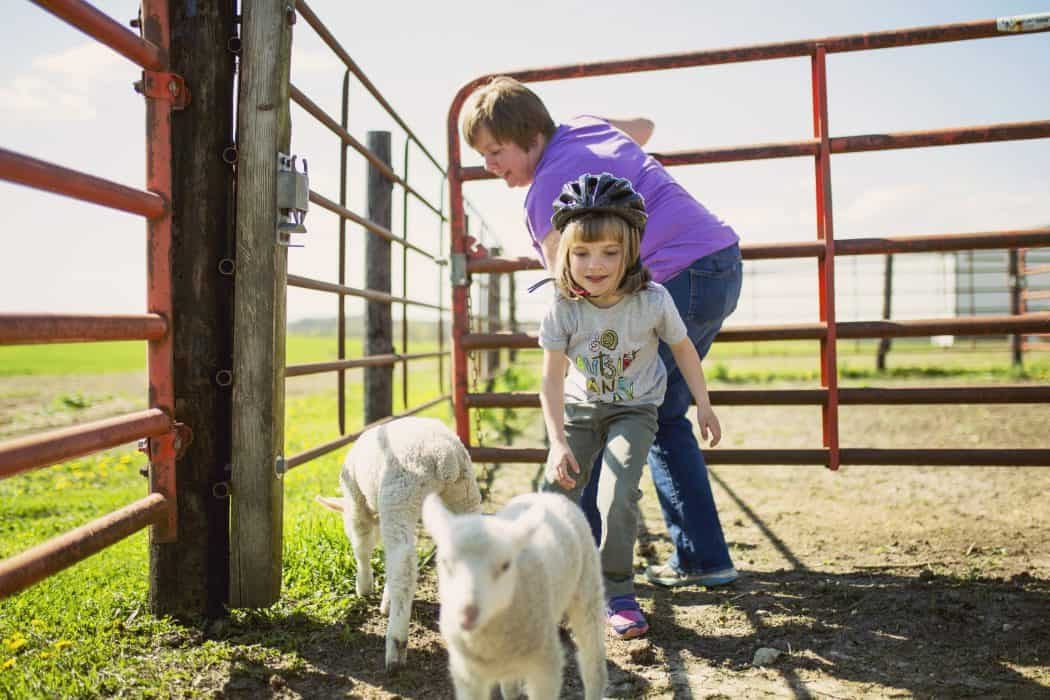 Erin and her daughter work together on the farm. Here they are with their two lambs.