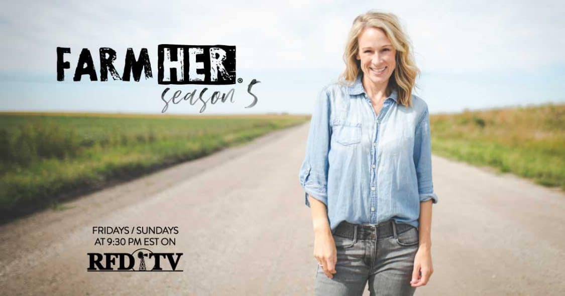 Marji, the host ofFarmHer the TV show stands on a gravel road. The show airs weekly on RFD-TV, Fridays and Sundays at 9:30 PM Eastern time.