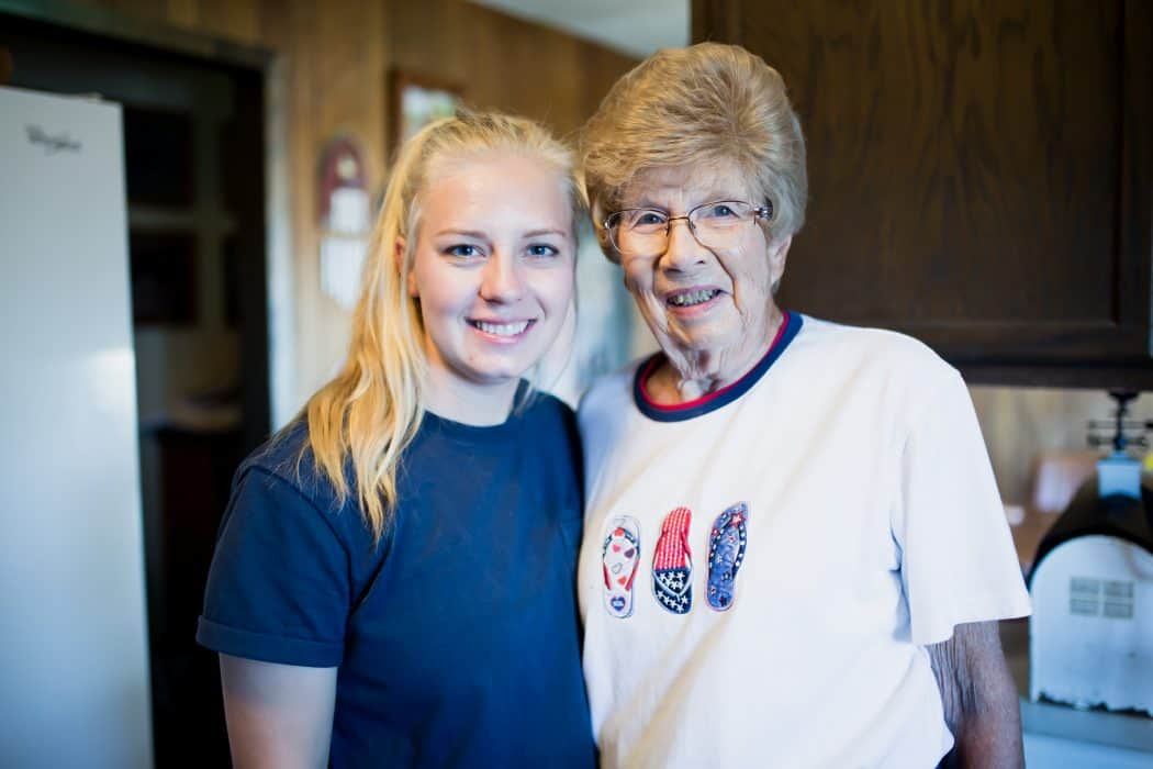 Hannah Borg and her Grandmother on the Borg family farm.