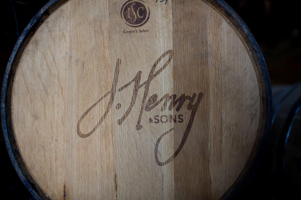 A barrel of bourbon at J. Henry & Sons bourbon farm and tasting room.