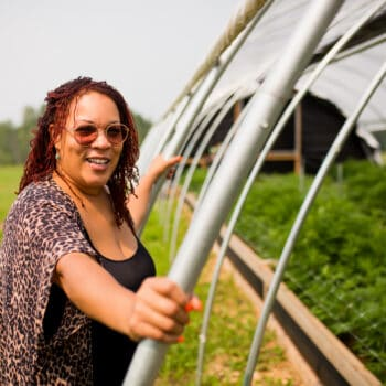 Angela Dawson, reclamation farmer and owner of Forty Acre Co-op on her farm.