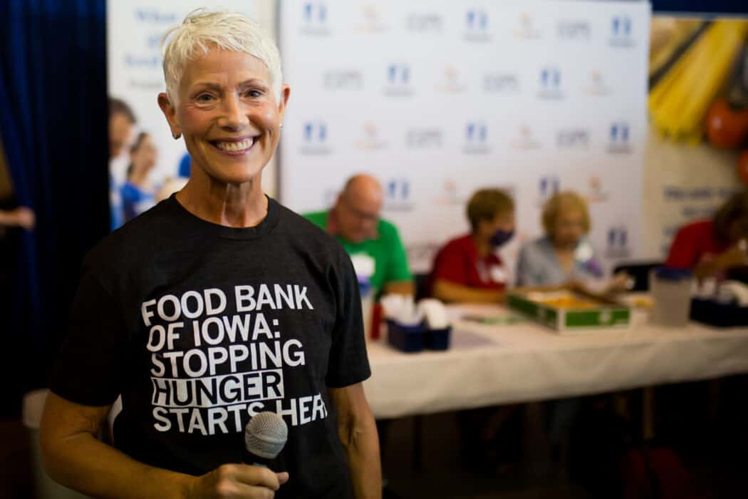 Michelle Book, President, and CEO of the Food Bank of Iowa at the Food Bank of Iowa Chopped contest.