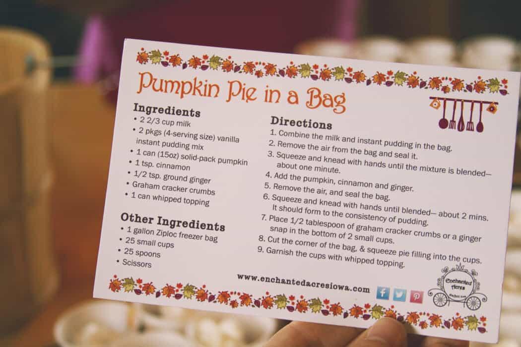 A recipe for Pumpkin Pie in a bag.